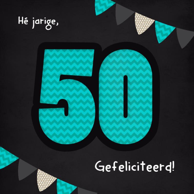 Verjaardagskaarten - 50 Zigzag en vlaggen