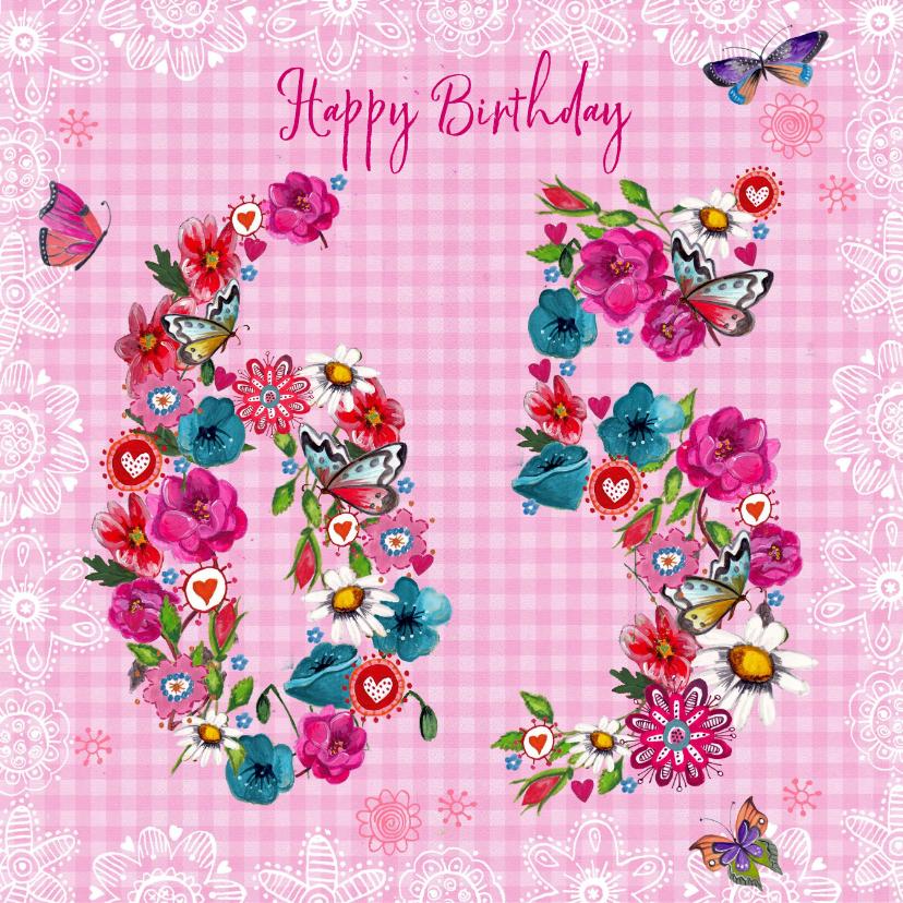 Verjaardagskaarten - 65 jaar Verjaardag Bloemen Vrolijk