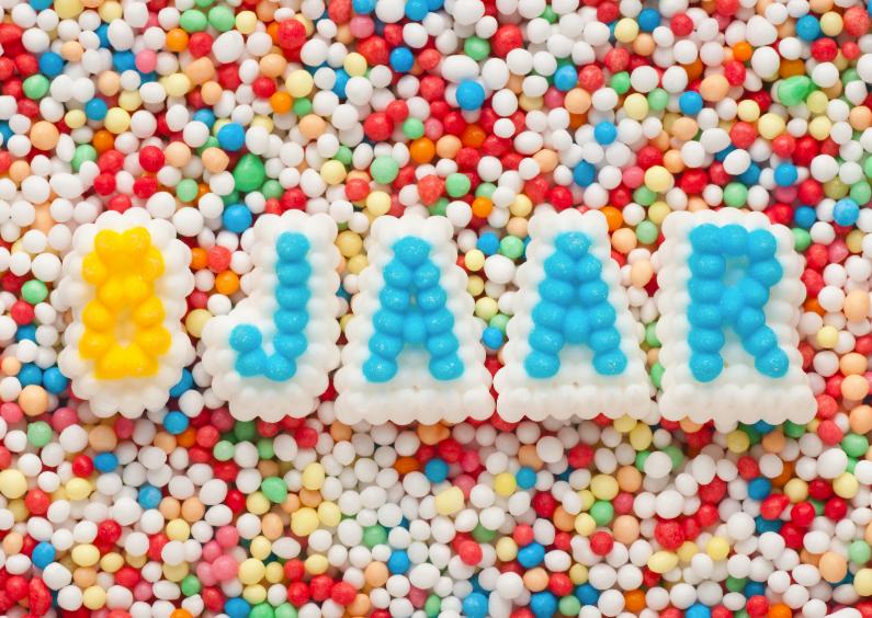 Verjaardagskaarten - 8 JAAR van suikerletters