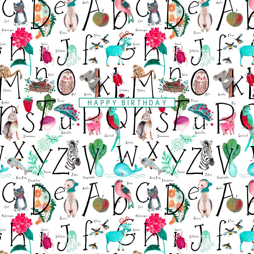 Verjaardagskaarten - Alfabet verjaardagskaart blauw wit dieren en letters