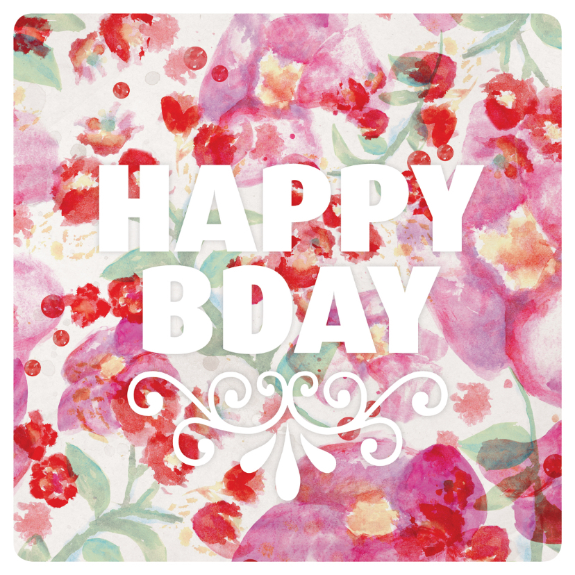 Aquarel Bloemen Verjaardag Kaartje Kaartje2go