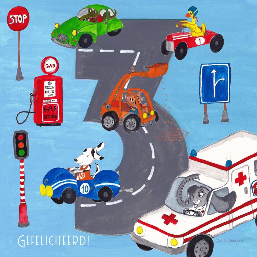 Auto Verjaardag Drie Jaar Jongen Kaartje2go