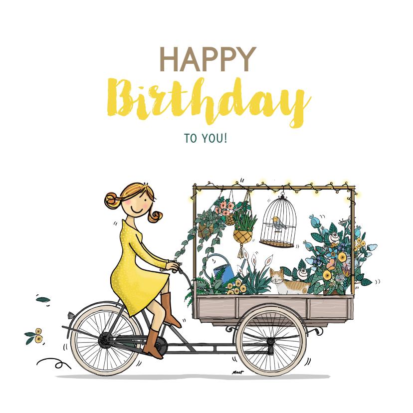 Verjaardagskaarten - Bakfiets met bloemen