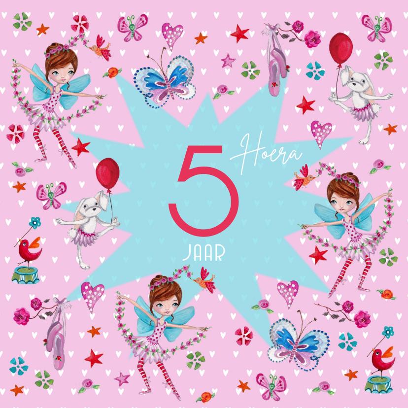Verjaardagskaarten - Ballerina Jarig Meisje hartjes