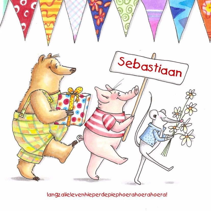 Verjaardagskaarten - Beer big en muis