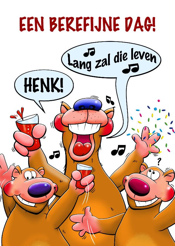 Verjaardagskaarten - Bereleuke verjaardagskaart met 3 grappige dieren