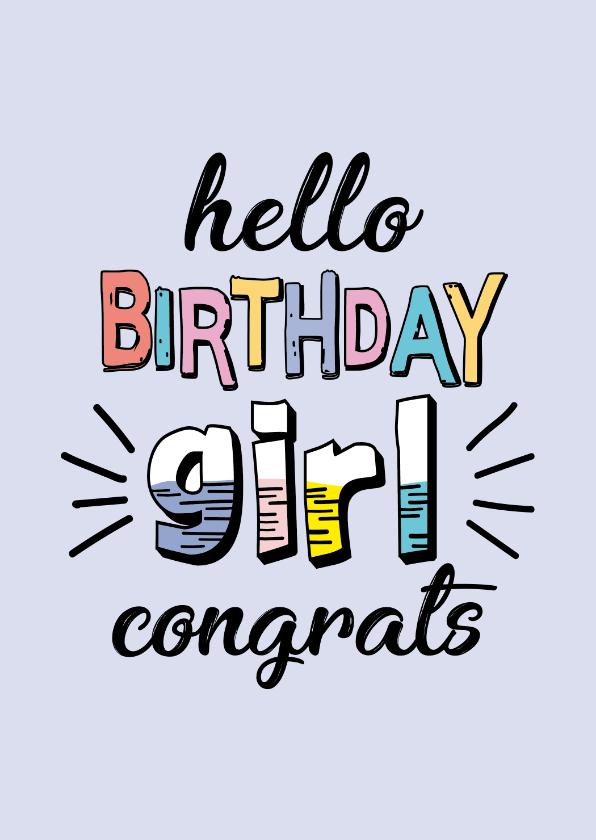 Verjaardagskaarten - Birthday girl contrast - text color - verjaardagskaart