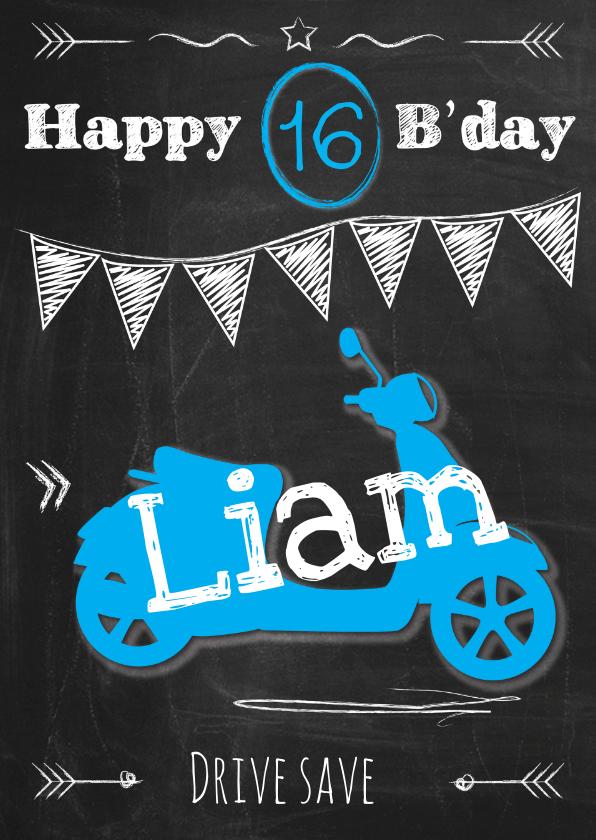 Verjaardagskaarten - Birthday scooter man 16-ByF