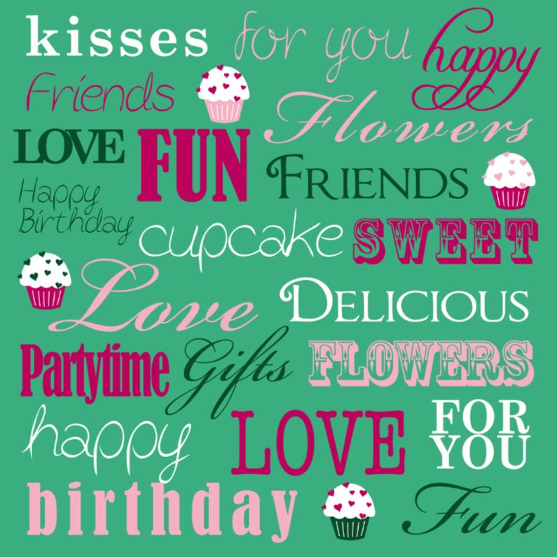 Verjaardagskaarten - Birthday Text Cupcakes