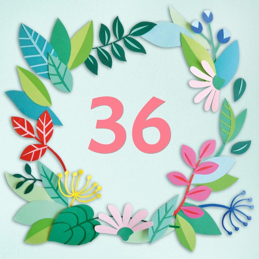 Verjaardagskaarten - Blaadjes en bloemen leeftijdkaart