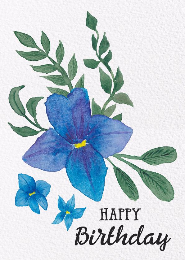 Verjaardagskaarten - Blauwe bloemen felicitatie