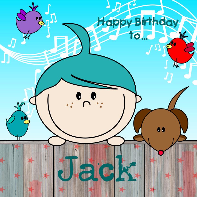 Verjaardagskaarten - BLIJ kaartje met vrolijke jongen