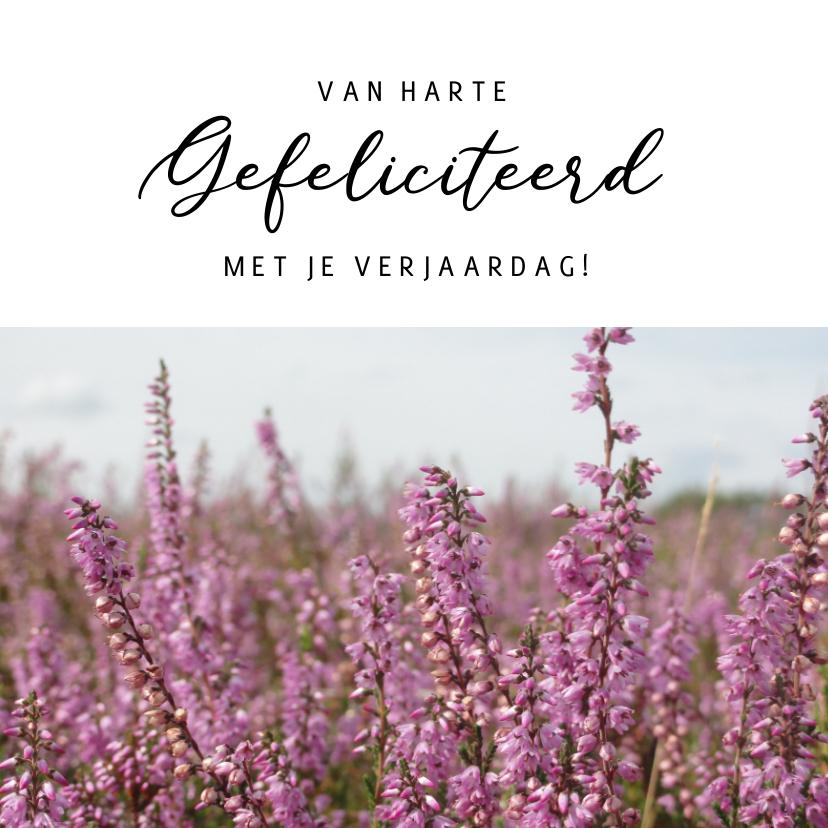 Verjaardagskaarten - Bloemen verjaardagskaart met foto van paarse heide