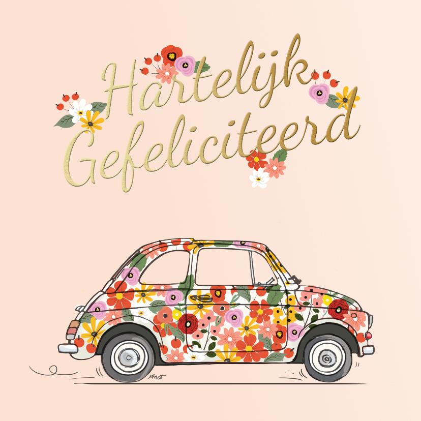 Verjaardagskaarten - Bloemenauto