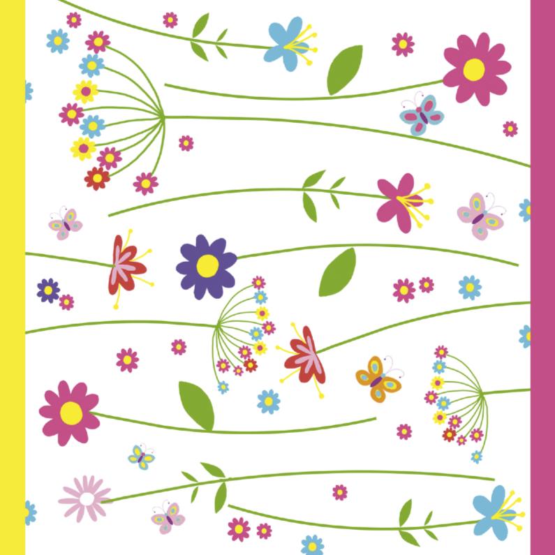 Verjaardagskaarten - bloemenkaart in felle kleuren