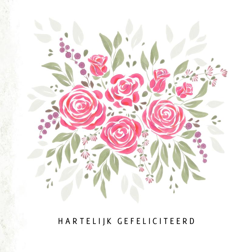 Verjaardagskaarten - Boeket bloemen met roze rozen