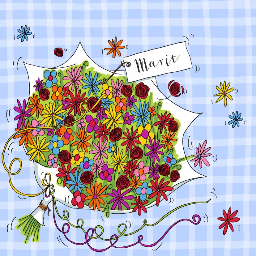 Verjaardagskaarten - Bos bloemen verjaardag man