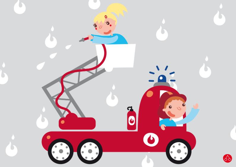 Verjaardagskaarten - Brandweer spuit wagen