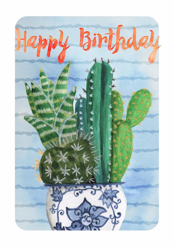 Verjaardagskaarten - Cactus waterverf Trendy Kaart
