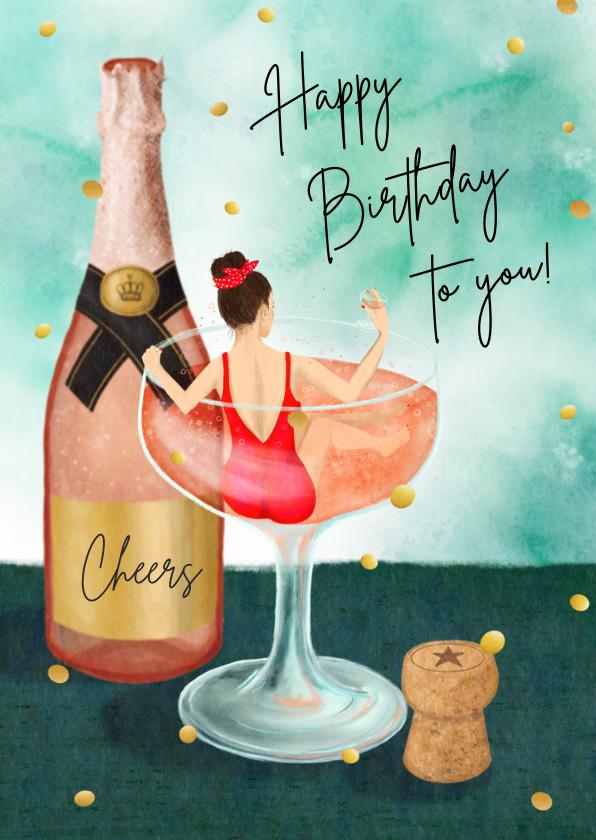 Verjaardagskaarten - Champagne bad verjaardagkaart