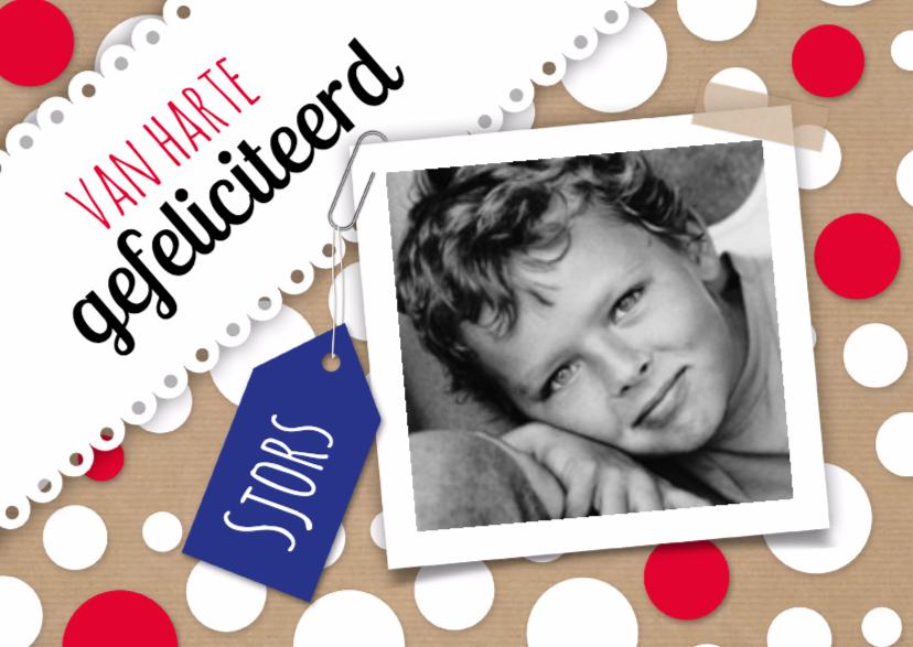 Verjaardagskaarten - Cirkels, foto en blauw label-isf