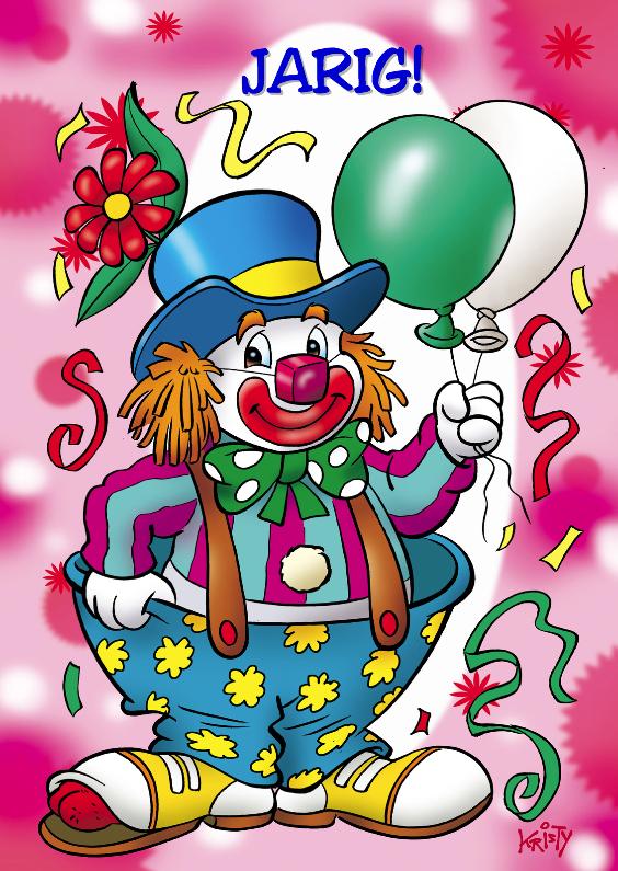 Verjaardagskaarten - clowns verjaardag 1 clown twee ballonnen