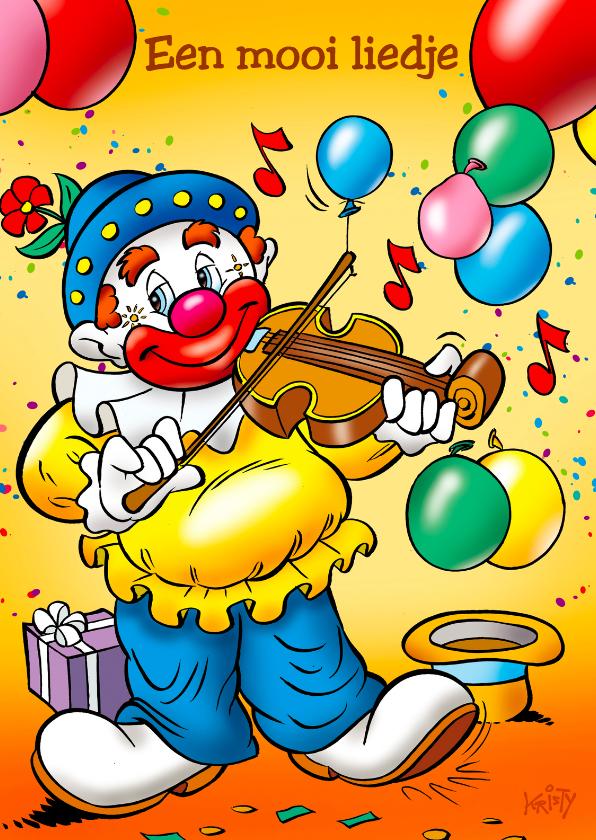 Verjaardagskaarten - clowns verjaardag 2 clown met viool