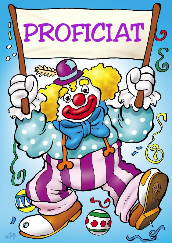 Verjaardagskaarten - clowns verjaardag 4 clown met spandoek