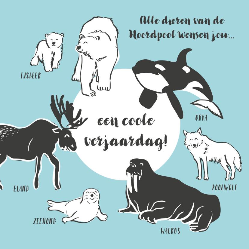 Verjaardagskaarten - Coole verjaardagskaart dieren Noordpool