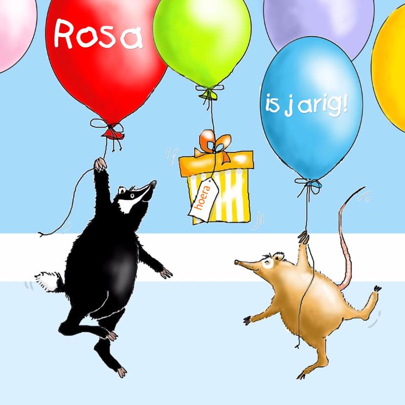 Verjaardagskaarten - Das en vriend met ballonnen