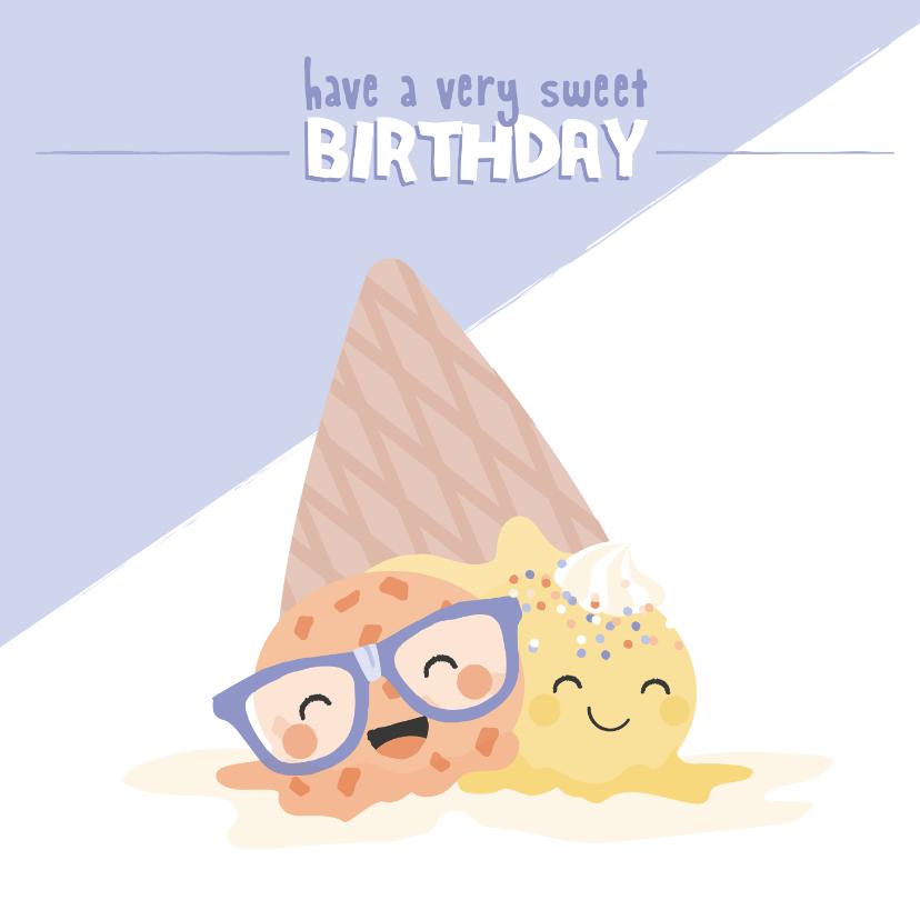 Verjaardagskaarten - Dubbele verjaardagskaart voor een tweeling met ijsjes