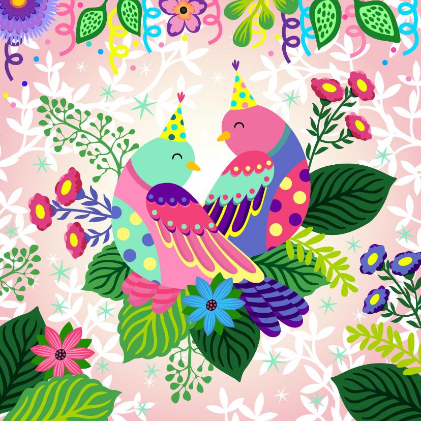 Verjaardagskaarten - Een gezellige en kleurrijke verjaardagskaart met vogels