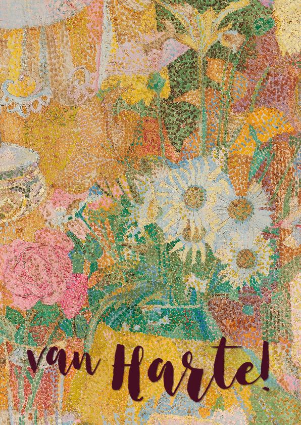 Verjaardagskaarten - Een vrolijke verjaardagskaart met kunstwerk van bloemen