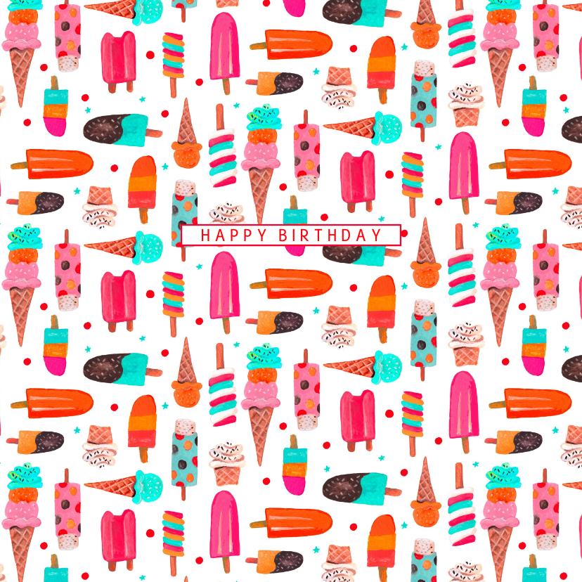Verjaardagskaarten - Een zomerse verjaardagskaart met ijsjes