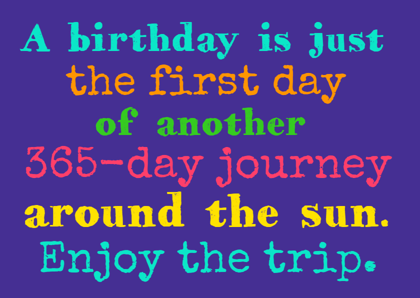 Verjaardagskaarten - Enjoy the trip