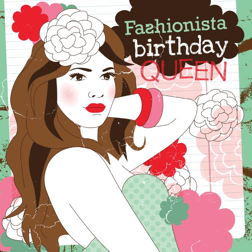 Verjaardagskaarten - Fashionista birthday queen jarig