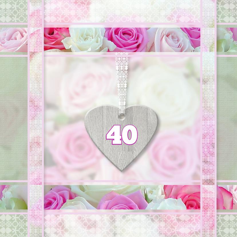 Verjaardagskaarten - Feest met roze rozen