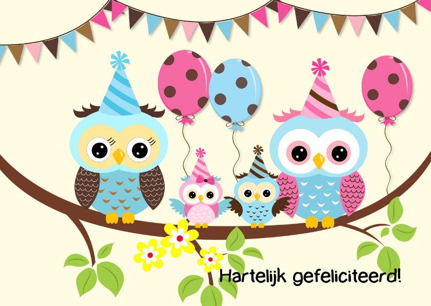 Verjaardagskaarten - Feest met uilenfamilie