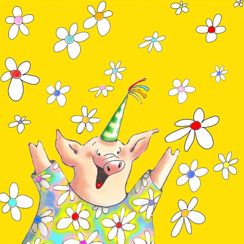 Verjaardagskaarten - Feestelijk varken