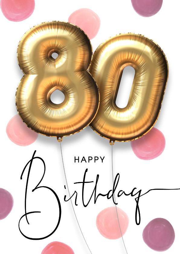 Verjaardagskaarten - Feestelijke felicitatie verjaardagskaart ballon 80 jaar