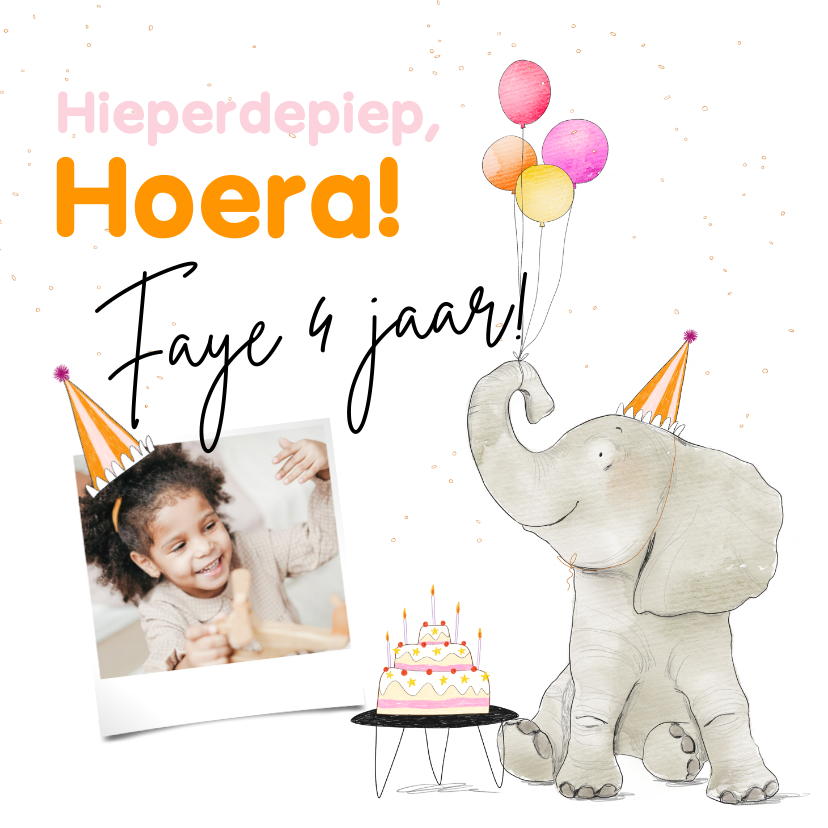 Verjaardagskaarten - Feestelijke kaart met olifant taart en ballonnen