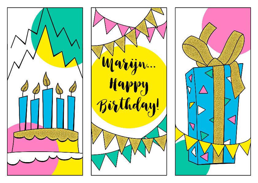 Verjaardagskaarten - Feestelijke verjaardagskaart met grafische vormen