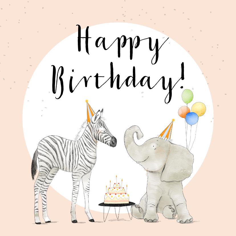 Verjaardagskaarten - Feestelijke verjaardagskaart met olifant en zebra