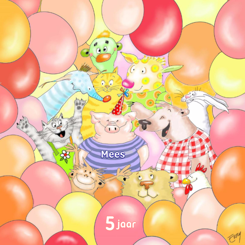 Verjaardagskaarten - Feestvarken met vriendjes