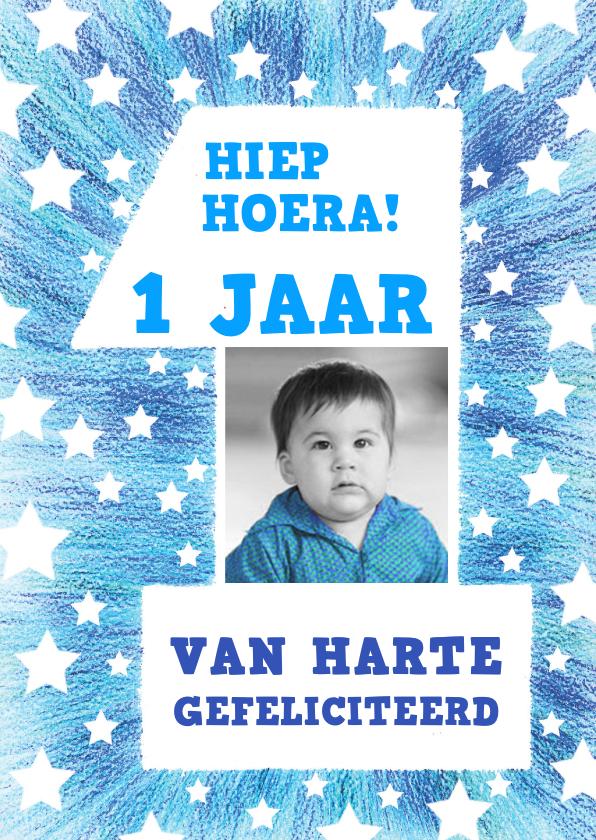 Verjaardagskaarten - Felicitatie 1 jaar blauw sterren
