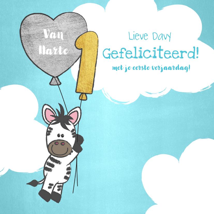 Verjaardagskaarten - Felicitatie 1 jaar lieve zebra met ballonnen in de wolken