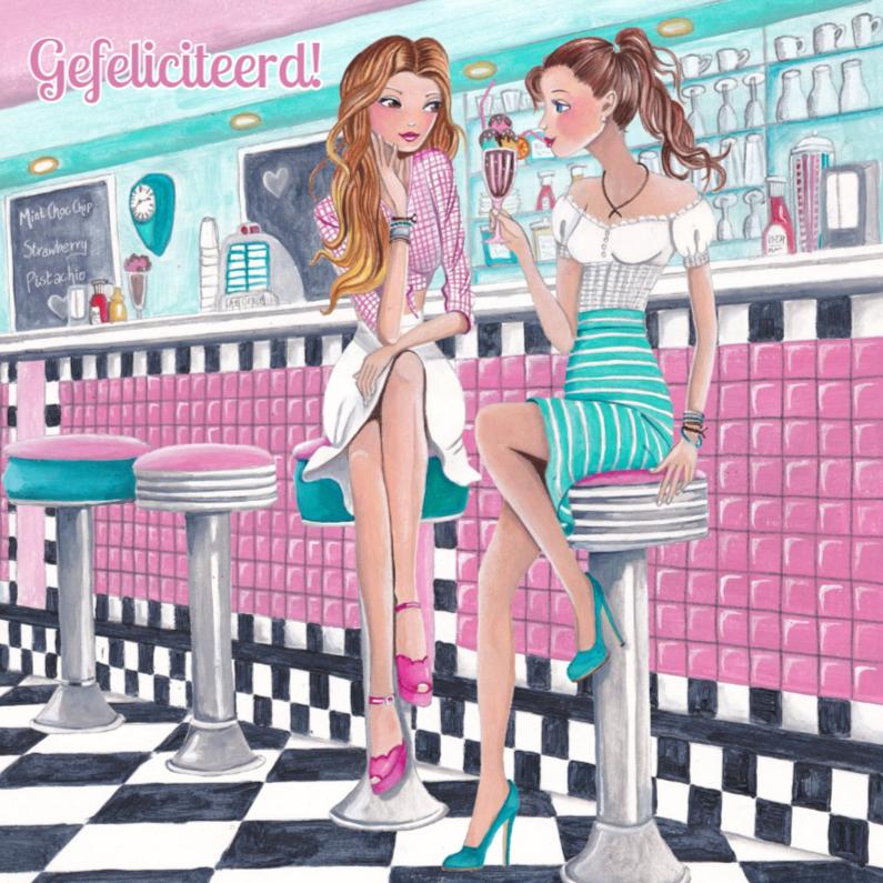 Verjaardagskaarten - Felicitatie Girls Diner ijs