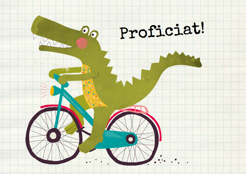 Verjaardagskaarten - Felicitatie krokodil op fiets