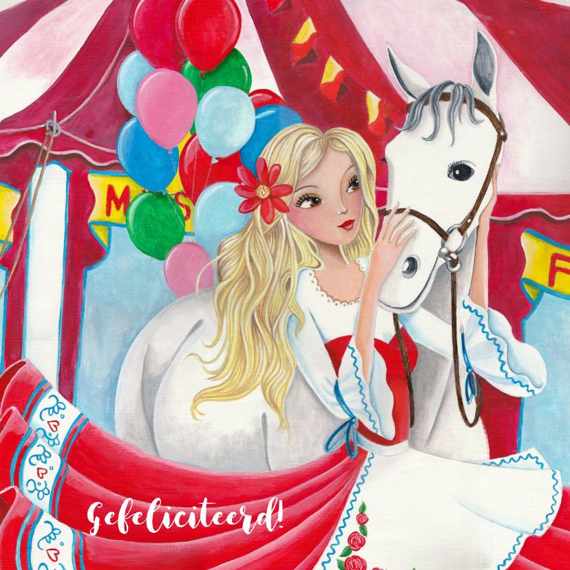 Verjaardagskaarten - Felicitatie verjaardag paard ballonnen