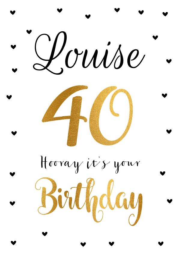 Verjaardagskaarten - Felicitatie verjaardagskaart 40 goud
